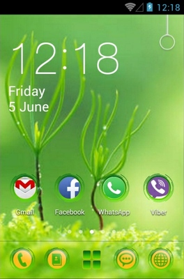 Green android theme home screen
