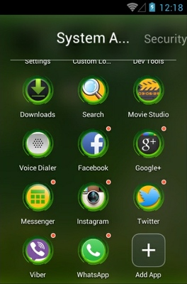 Green android theme application menu
