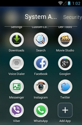 Underwater android theme application menu