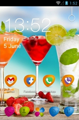 Fruit Coctail android theme home screen
