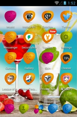 Fruit Coctail android theme application menu