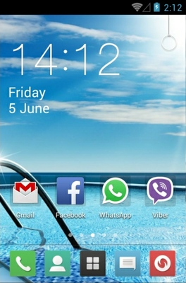 Swimming Pool android theme home screen
