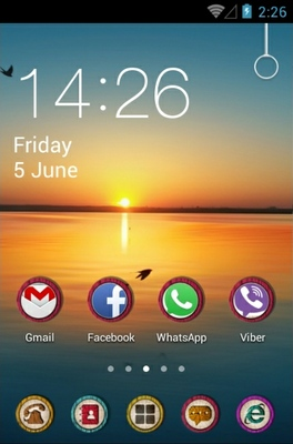 Sunset android theme home screen