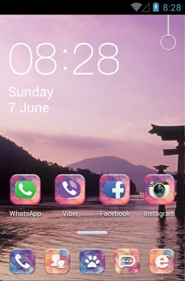 Japanese Rising Sun android theme home screen