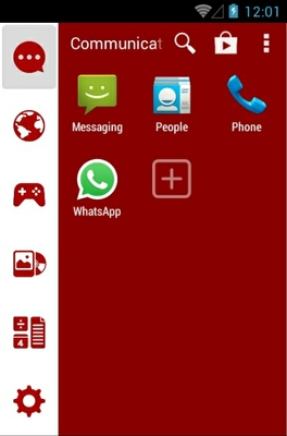 Basic Red android theme application menu