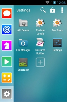 Light Lines android theme application menu