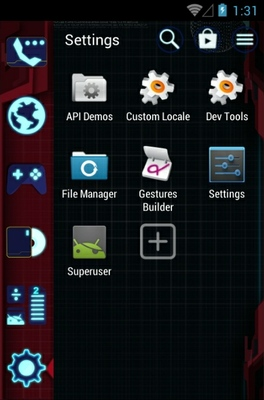 Blue Gamer android theme application menu