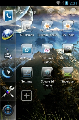 SL Glint android theme application menu