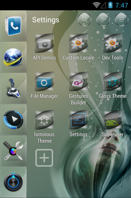 Gloss android theme application menu