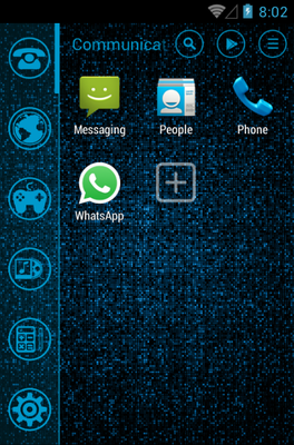 Blue android theme application menu