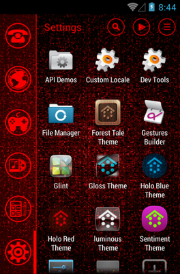 Red android theme application menu