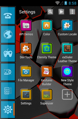 Eternity android theme application menu