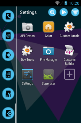 Origami android theme application menu