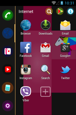 grOS Black android theme application menu