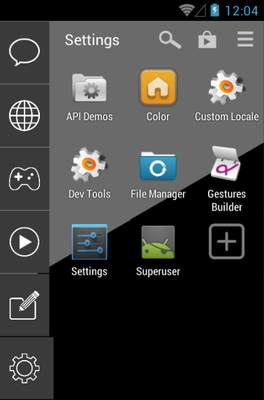 Black and Grey android theme application menu