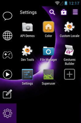 Eclipse android theme application menu
