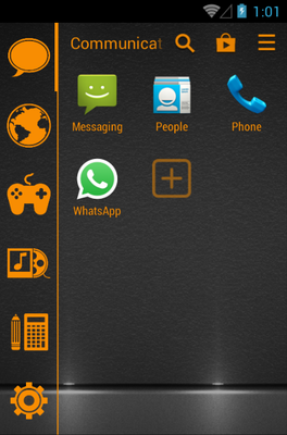 Stamped Orange android theme application menu