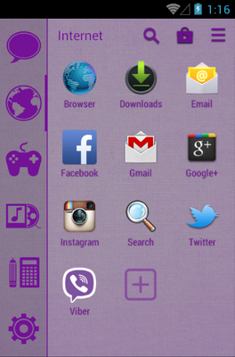 Stamped Purple android theme application menu