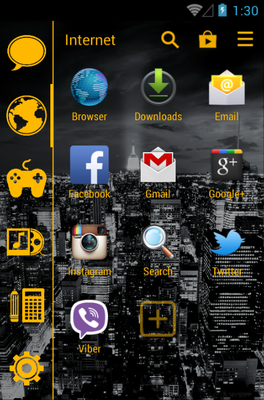 Stamped Yellow android theme application menu