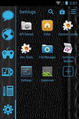 Holo Blue Hexagon android theme application menu