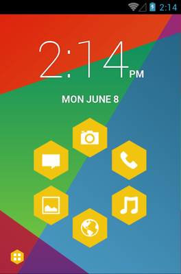Hexagon android theme home screen