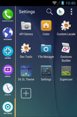 S6 android theme application menu