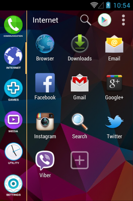 S5 android theme application menu
