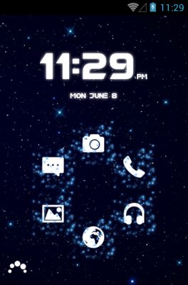 GALAXY android theme home screen