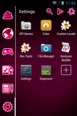 GSL MAGENTA android theme application menu