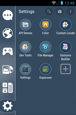 Flat Midnight android theme application menu
