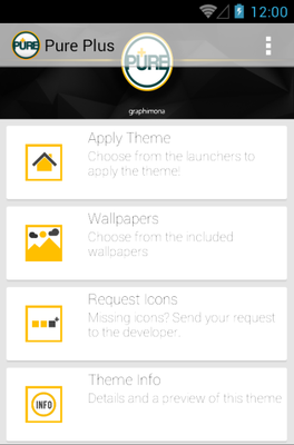 Pure Plus android theme launcher menu