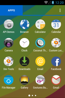 Coconut android theme application menu
