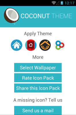 Coconut android theme launcher menu