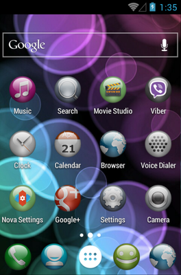 Sphere android theme home screen
