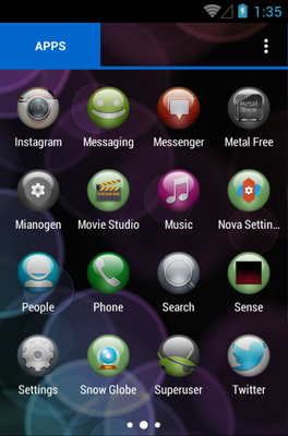 Sphere android theme application menu