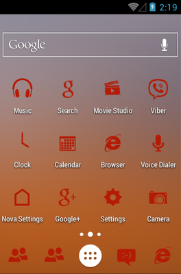 MNML RED android theme home screen