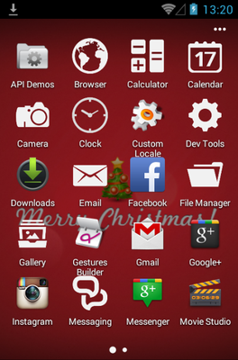 Xmas android theme application menu