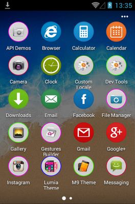 M9 android theme application menu