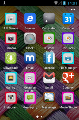 Pink Beautiful android theme application menu