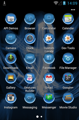 MG Blue android theme application menu