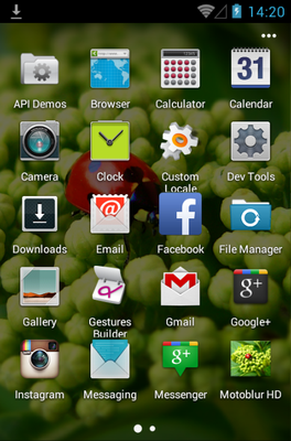 Motoblur android theme application menu