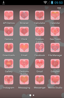 Love Pink android theme application menu