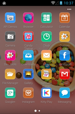 Candy android theme application menu