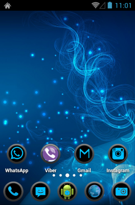 Blue Circle android theme home screen