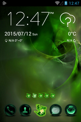 Green Flame android theme home screen