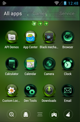 Green Flame android theme application menu