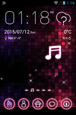 Pink Music android theme home screen