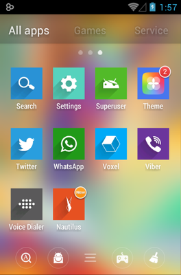 Voxel android theme application menu
