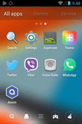 Axiom android theme application menu