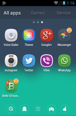 Belle UI android theme application menu